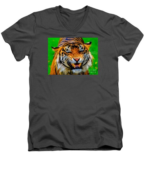 Men's V-Neck T-Shirt featuring the photograph Growling Tiger by Ray Shiu