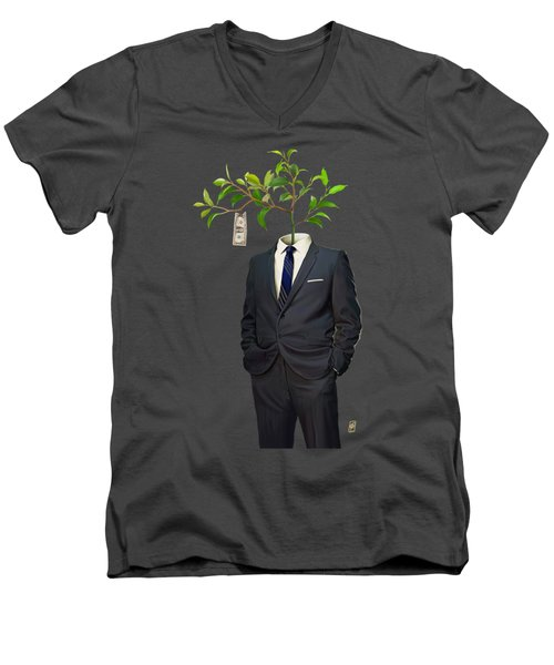 Men's V-Neck T-Shirt featuring the drawing Growth by Rob Snow