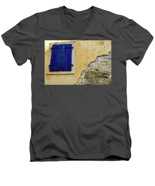Groznjan Istrian Hill Town Stonework And Blue Shutters  - Istria, Croatia Men's V-Neck T-Shirt