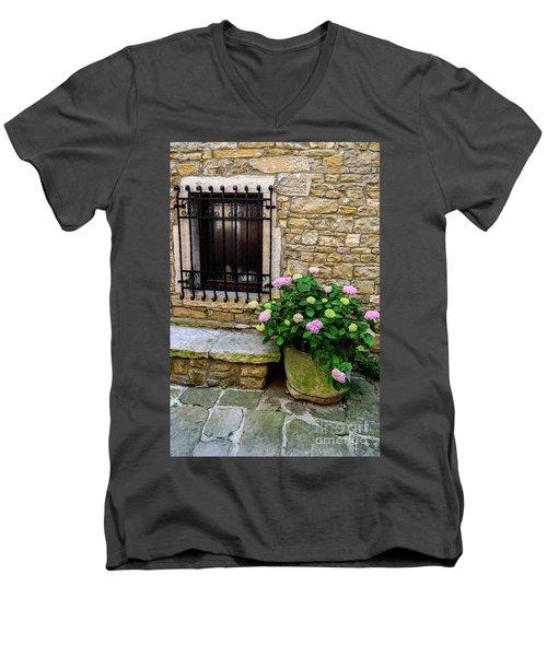 Groznjan Istrian Hill Town Stonework And Flowerpot - Istria, Croatia Men's V-Neck T-Shirt