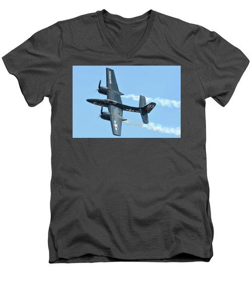 Men's V-Neck T-Shirt featuring the photograph Grumman F7f-3p Tigercat Nx700f Here Kitty Kitty Chino California April 30 2016 by Brian Lockett