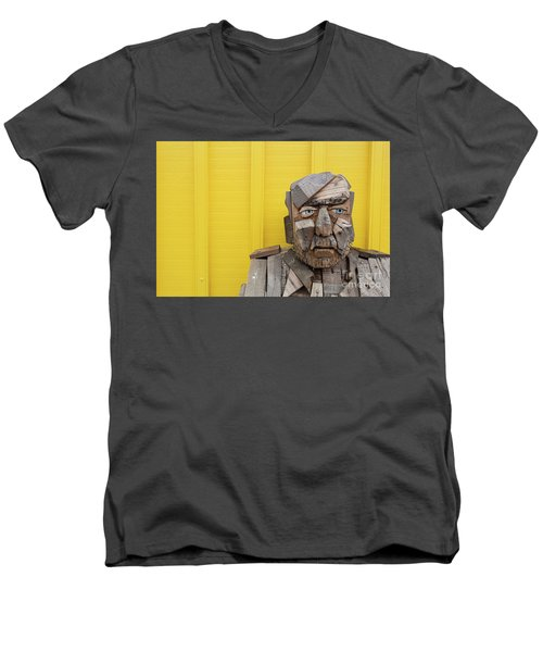 Men's V-Neck T-Shirt featuring the photograph Grumpy Old Man by Edward Fielding