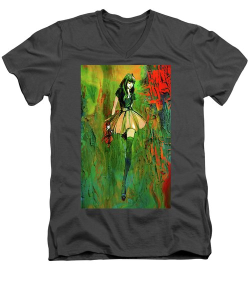 Men's V-Neck T-Shirt featuring the digital art Grunge Doll by Greg Sharpe
