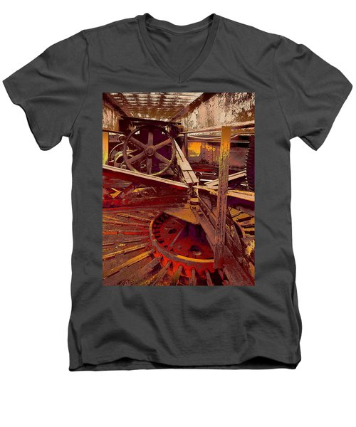 Men's V-Neck T-Shirt featuring the photograph Grunge Gears by Robert Kernodle