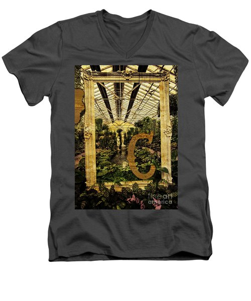 Grungy Melbourne Australia Alphabet Series Letter Men's V-Neck T-Shirt