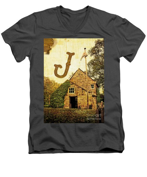 Grungy Melbourne Australia Alphabet Series Letter J Captain Jame Men's V-Neck T-Shirt
