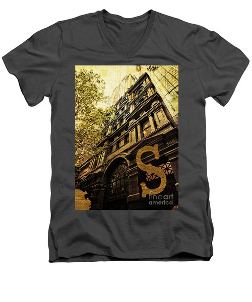 Grungy Melbourne Australia Alphabet Series Letter S Collins Stre Men's V-Neck T-Shirt