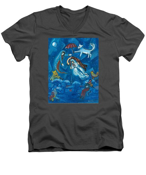 Guadalupe Visits Chagall Men's V-Neck T-Shirt by James Roderick