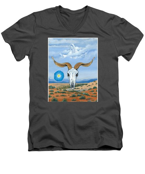 Guadalupe Visits Georgia O'keeffe Men's V-Neck T-Shirt by James Roderick