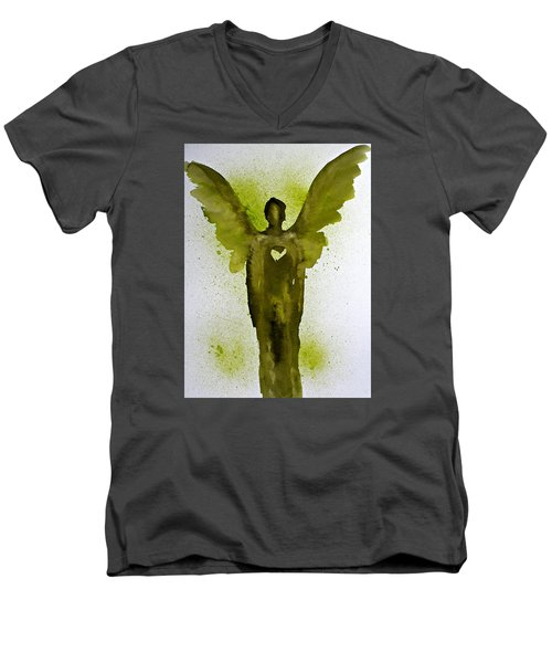 Guardian Angels Golden Heart Men's V-Neck T-Shirt