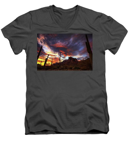 Guardians Of The Mountain Men's V-Neck T-Shirt by Rick Furmanek