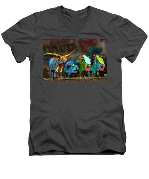 Men's V-Neck T-Shirt featuring the photograph Guess Who's Coming To Dinner by Paul Wear