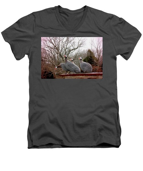 Men's V-Neck T-Shirt featuring the photograph Guinea Foul by Bonnie Willis