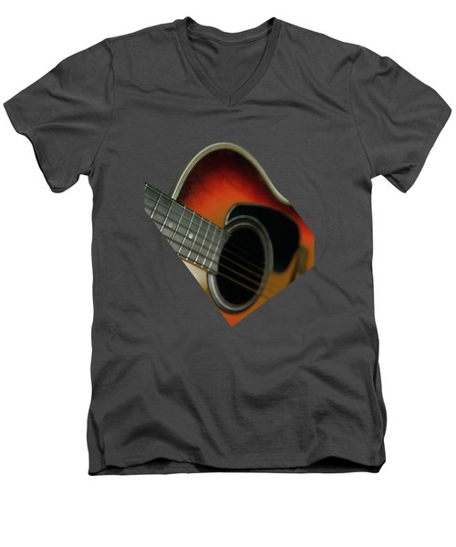 Men's V-Neck T-Shirt featuring the photograph  Guitar  Acoustic Close Up by Bruce Stanfield