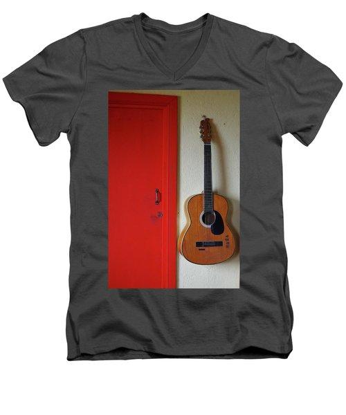 Guitar And Red Door Men's V-Neck T-Shirt