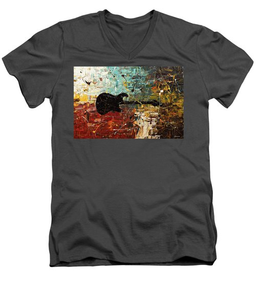 Men's V-Neck T-Shirt featuring the painting Guitar Story by Carmen Guedez