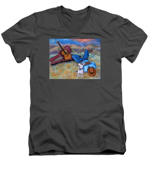 Men's V-Neck T-Shirt featuring the painting Guitar Doggy And Me In Wine Country by Xueling Zou