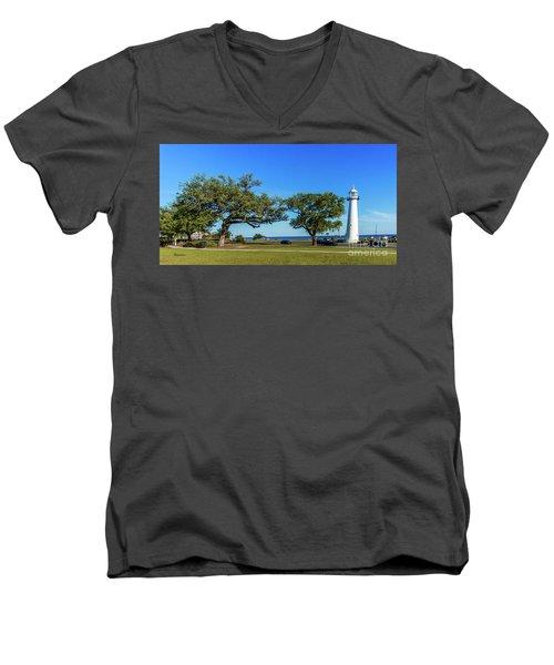 Men's V-Neck T-Shirt featuring the photograph Gulf Coast Lighthouse Seascape Biloxi Ms 3663b by Ricardos Creations