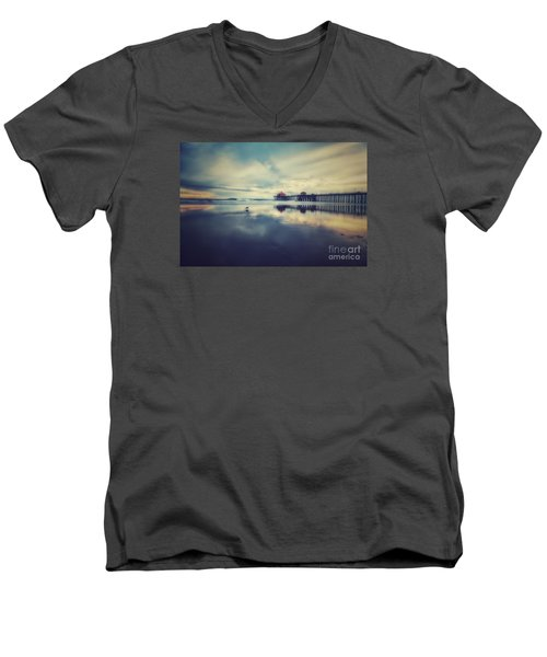 Gull At Huntington Beach Pier Men's V-Neck T-Shirt
