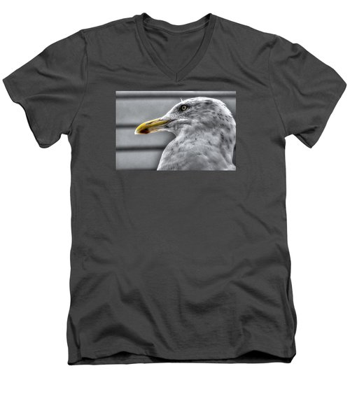 Men's V-Neck T-Shirt featuring the photograph Gull Mug Shot by Richard Ortolano