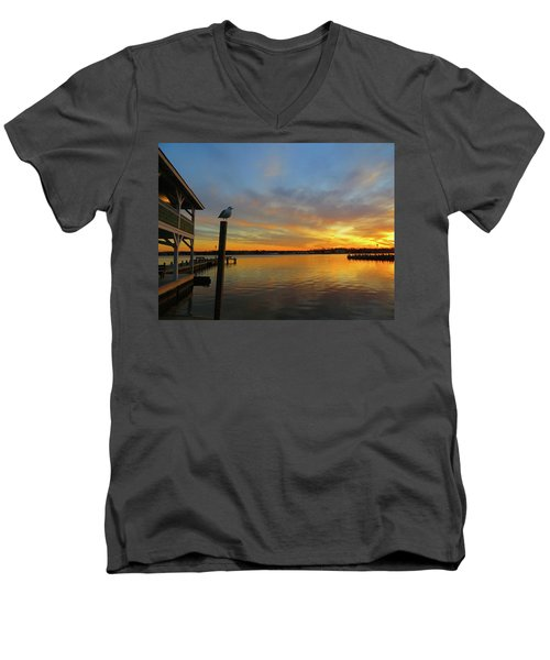Men's V-Neck T-Shirt featuring the photograph Gull Sunset by Linda Henne