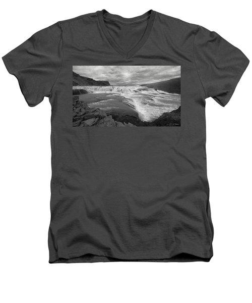 Men's V-Neck T-Shirt featuring the photograph Gullfoss Waterfall No. 1 by Joe Bonita