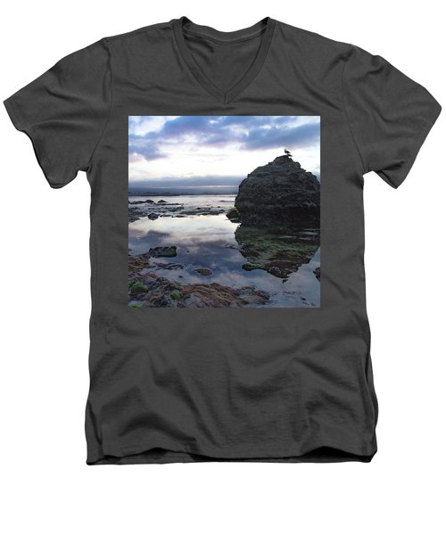Men's V-Neck T-Shirt featuring the photograph Gulls With Clouds by Lora Lee Chapman