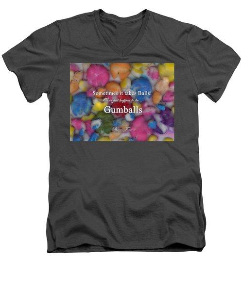 Gumballs #0000d Men's V-Neck T-Shirt by Barbara Tristan