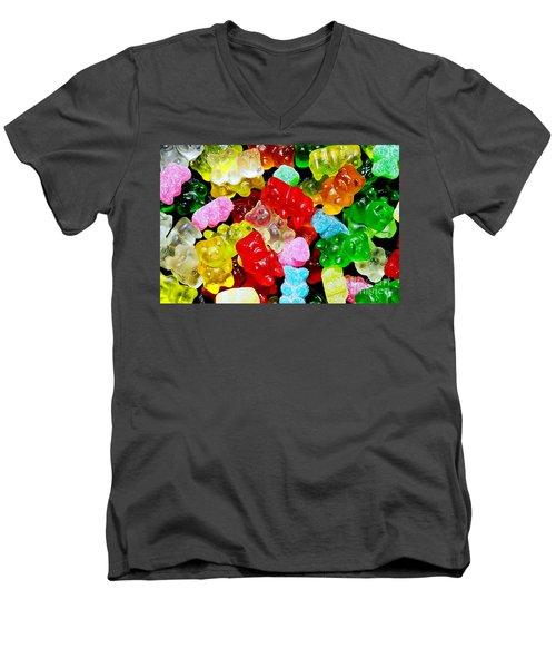 Men's V-Neck T-Shirt featuring the photograph Gummy Bears by Vivian Krug Cotton