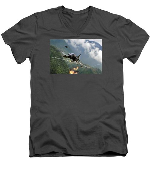 Gunfighters Men's V-Neck T-Shirt by Peter Chilelli