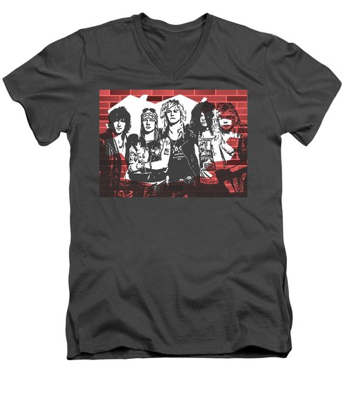 Guns N Roses Graffiti Tribute Men's V-Neck T-Shirt