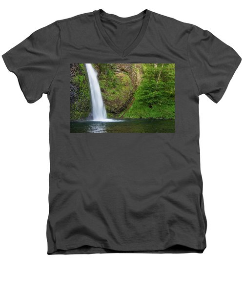 Men's V-Neck T-Shirt featuring the photograph Gushing Horsetail Falls by Greg Nyquist