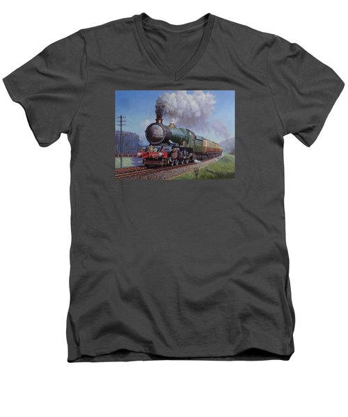 Gwr King On Dainton Bank. Men's V-Neck T-Shirt by Mike  Jeffries