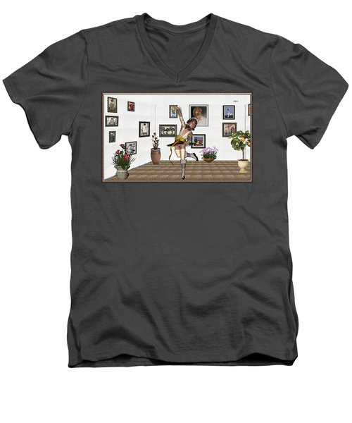 Digital Exhibartition _  Dancing Girl  Men's V-Neck T-Shirt