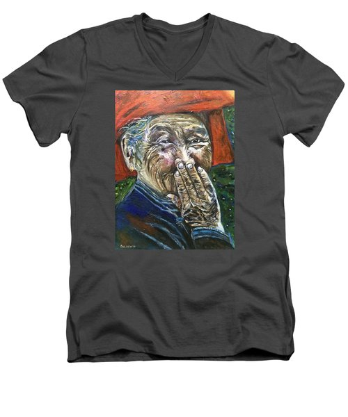 Men's V-Neck T-Shirt featuring the painting H A P P Y by Belinda Low