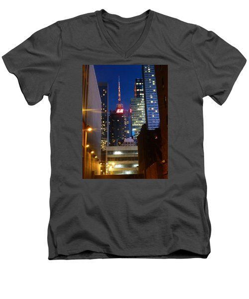 H M Building Men's V-Neck T-Shirt by Helen Haw