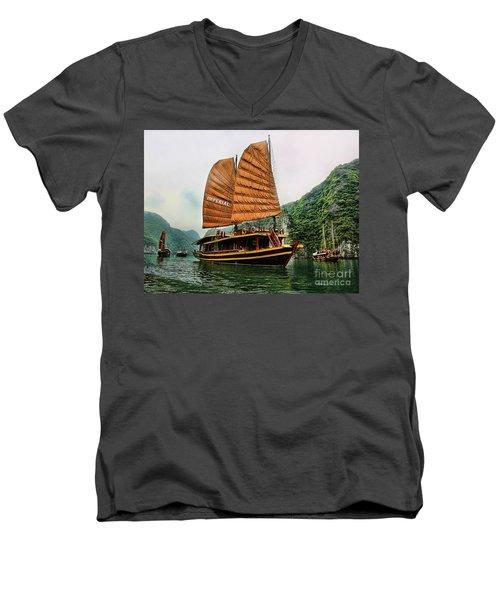 Ha Long Vessel Brown  Men's V-Neck T-Shirt