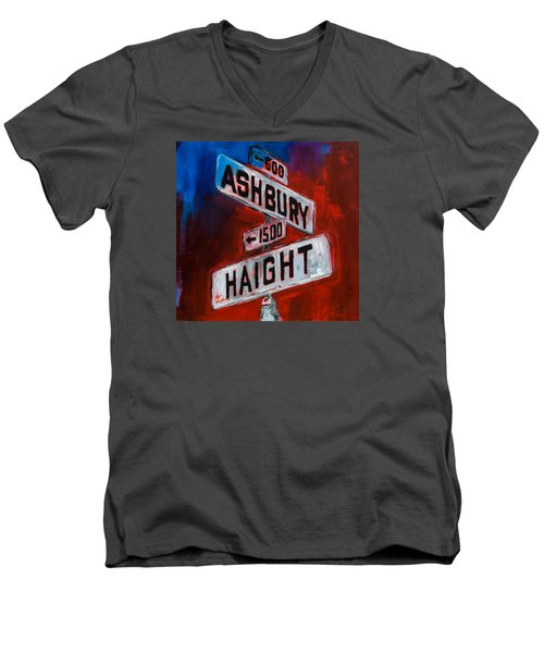 Men's V-Neck T-Shirt featuring the painting Haight And Ashbury by Elise Palmigiani