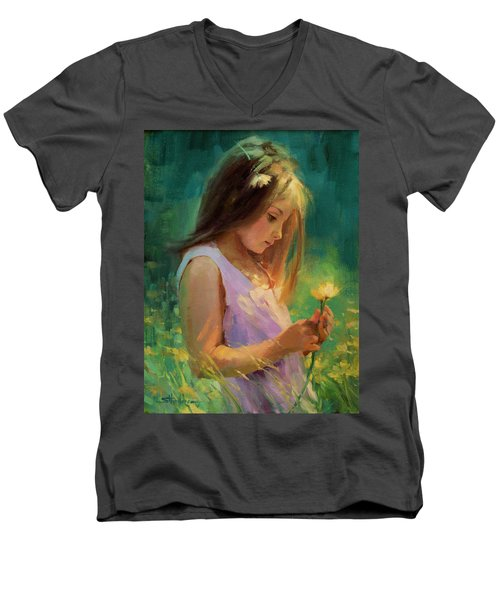 Men's V-Neck T-Shirt featuring the painting Hailey by Steve Henderson