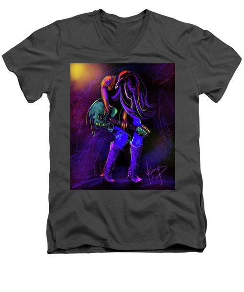 Hair Guitar Men's V-Neck T-Shirt by DC Langer