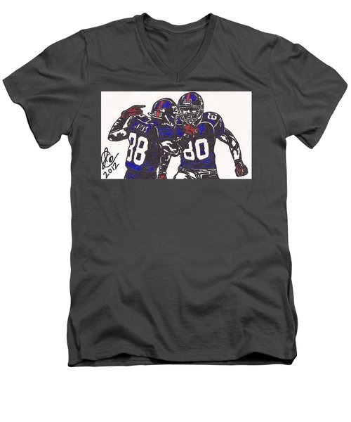 Men's V-Neck T-Shirt featuring the drawing Hakeem Nicks And Victor Cruz by Jeremiah Colley