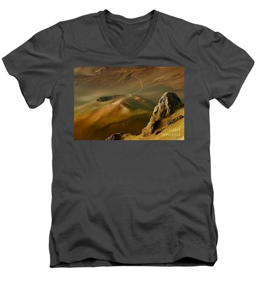Haleakala Caldera Men's V-Neck T-Shirt by Teresa Zieba