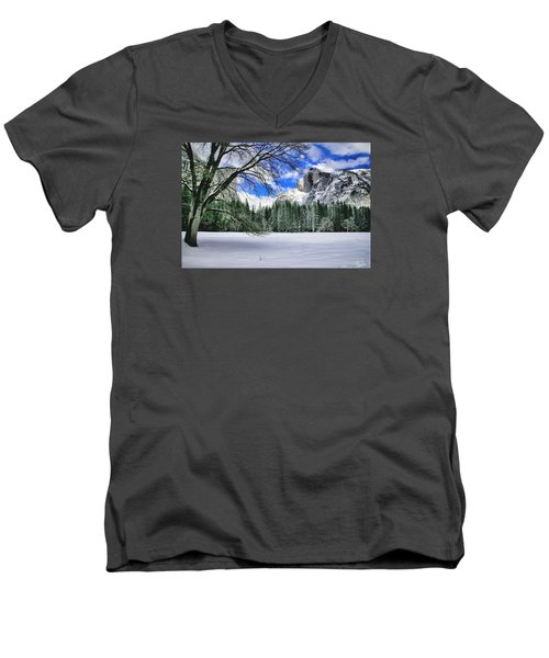 Half Dome In The Snow Men's V-Neck T-Shirt