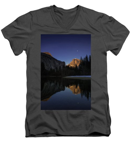 Half Dome, Twilight Men's V-Neck T-Shirt
