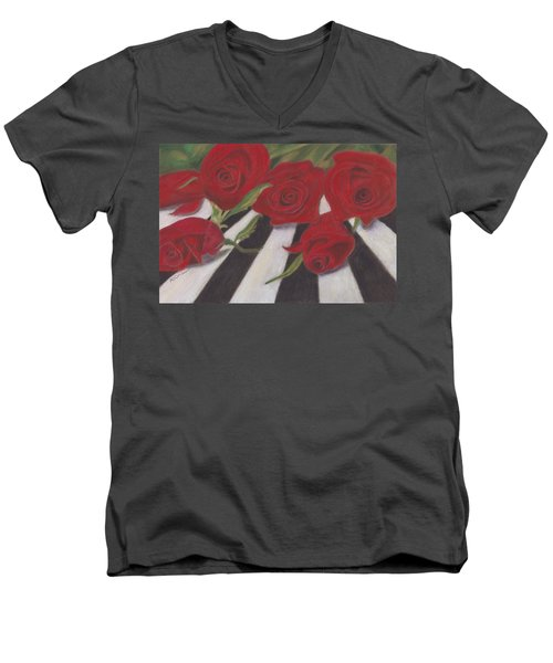 Men's V-Neck T-Shirt featuring the painting Half Dozen Red by Arlene Crafton