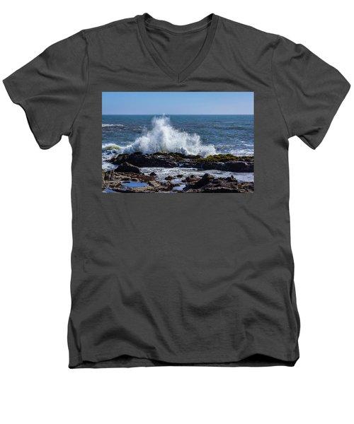 Wave Crashing On California Coast 1 Men's V-Neck T-Shirt