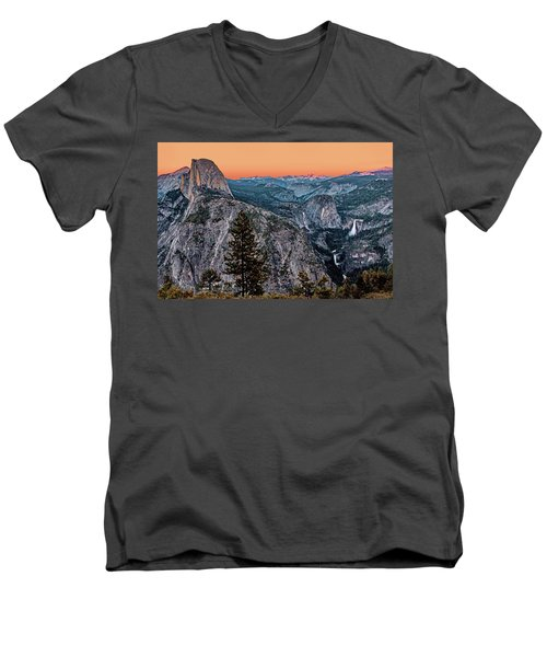 Halfdome And The Waterfalls At Sunset Men's V-Neck T-Shirt