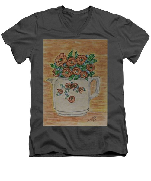 Men's V-Neck T-Shirt featuring the painting Hall China Orange Poppy And Poppies by Kathy Marrs Chandler