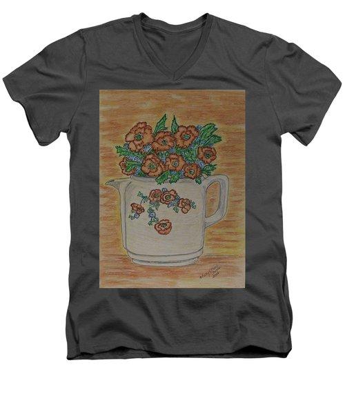 Hall China Orange Poppy And Poppies Men's V-Neck T-Shirt by Kathy Marrs Chandler