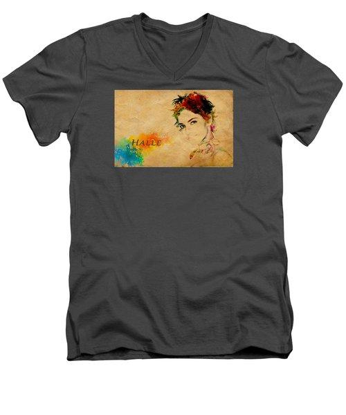 Halle Berry  Men's V-Neck T-Shirt by Manjot Singh Sachdeva